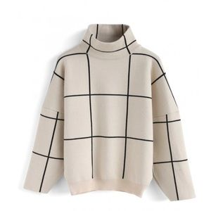 Chicwish Grid Turtleneck Boxy Fit Sweater